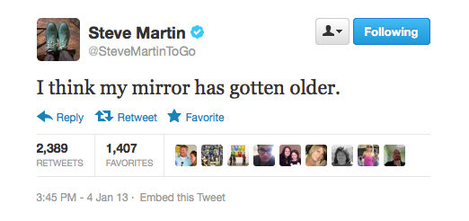 Steve Martin's mirror is playing tricks on him.