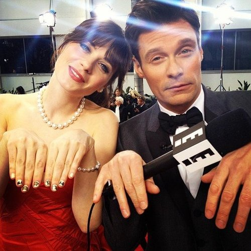Ryan Seacrest got in on the manicure game with Zooey Deschanel at the Golden Globes. Source: Instagram user ryanseacrest
