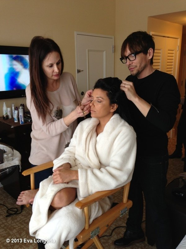 Eva Longoria got her hair and makeup done before the Globes. Source: Eva Longoria on WhoSay