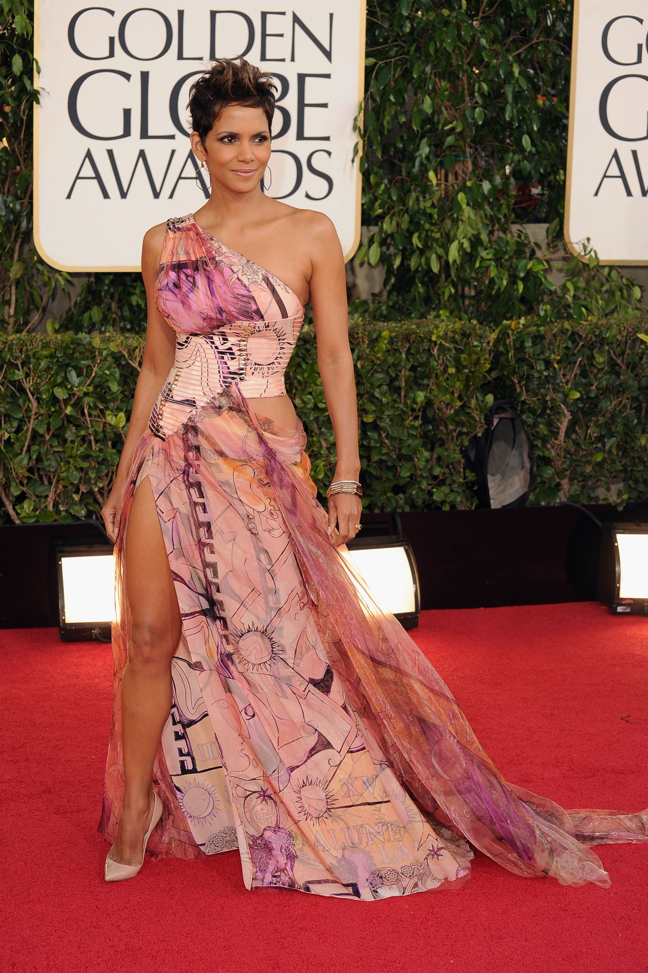 Halle Berry showed some leg in her floral gown.