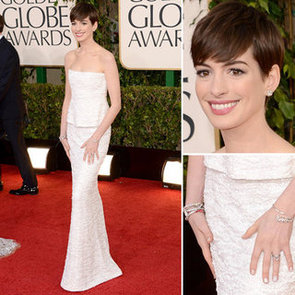 Pictures of Anne Hathway in Chanel at the 2013 Golden Globes
