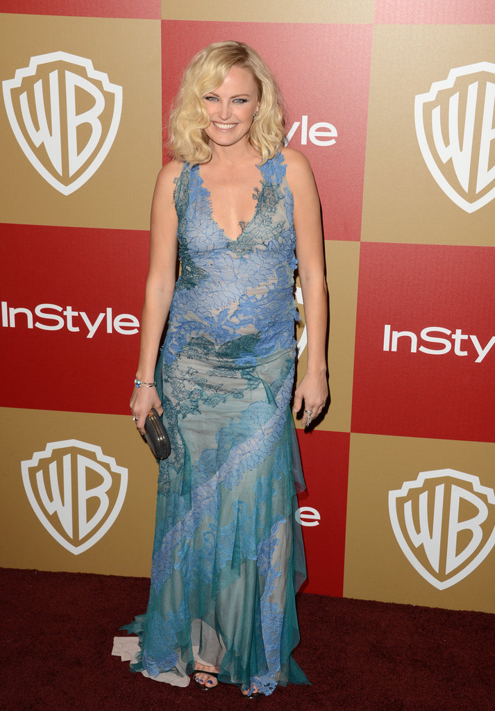 Malin Akerman chose a sea-inspired number, resplendent with sheer lace, for her night out on the town.
