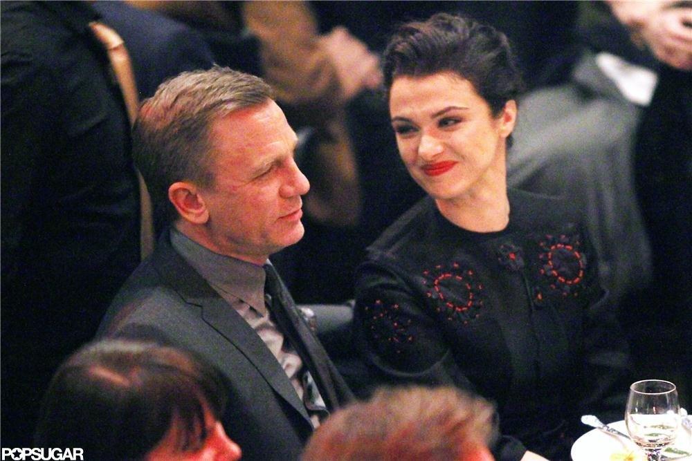 Rachel Weisz sat with Daniel Craig, who did not walk the red carpet.