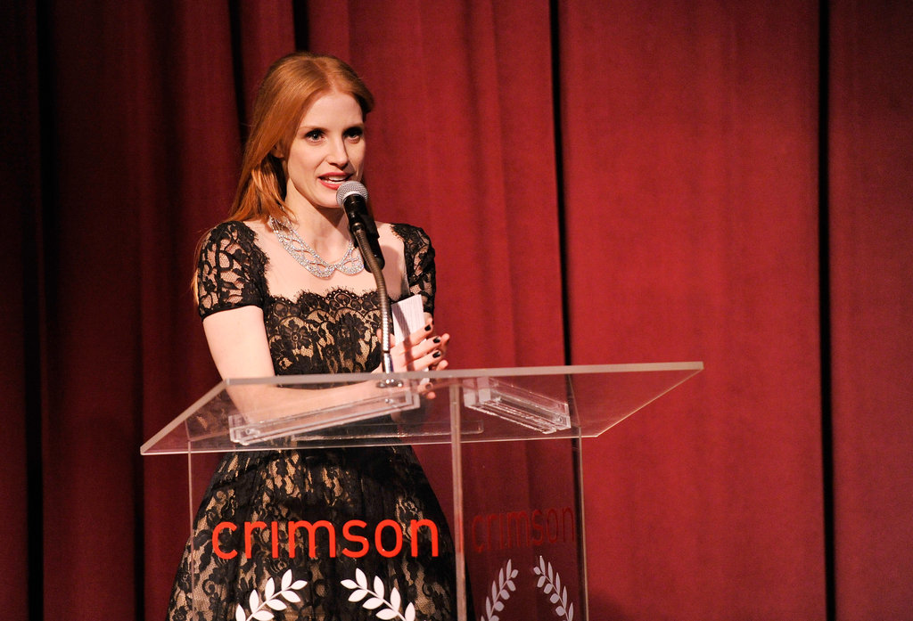 Jessica Chastain spoke onstage.