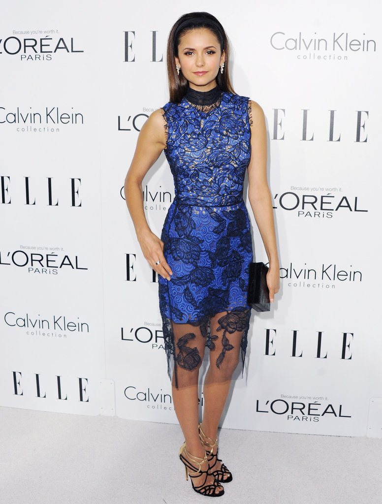Nina went for something overtly feminine — not to mention elegant — with this blue lace-covered Vera Wang number at the 19th annual Elle Women in Hollywood celebration.