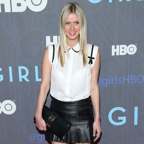 Nicky Hilton Wearing Pleated Leather Skirt