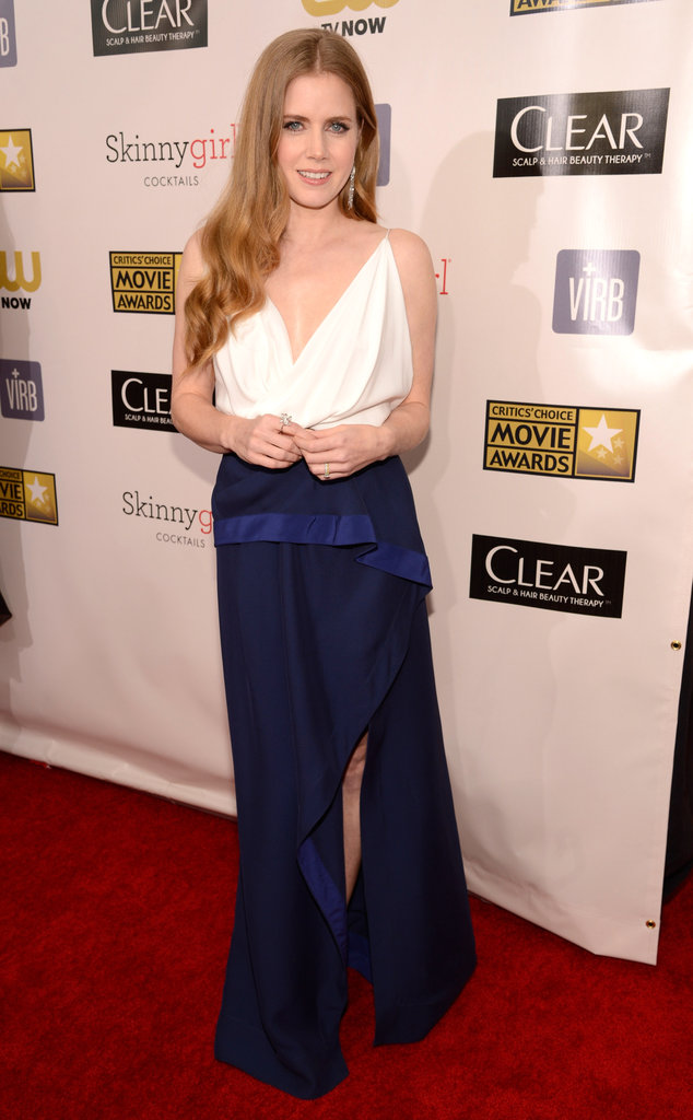 Amy Adams wore white and blue.