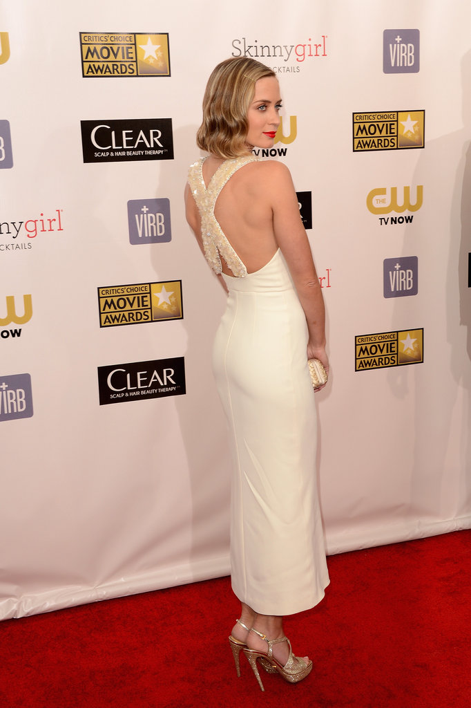 Emily Blunt showed off the back of her Miu Miu gown.
