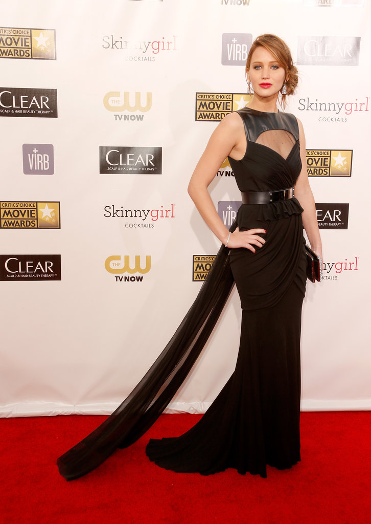 Jennifer Lawrence hit the red carpet in a black Prabal Gurung gown.