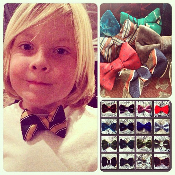 Liam McDermott modeled one of his favorite bow ties —and showed off his collection — for his mama. Source: Instagram user torianddean
