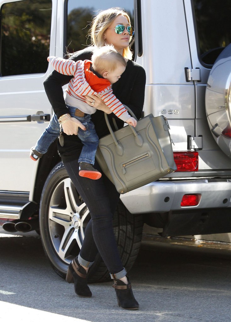 Hilary Duff had her hands full with Luca in Beverly Hills.