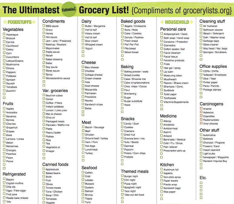 grocery list free printable checklists to stay organized