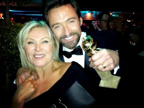 Hugh Jackman and his wife, Deborra-Lee Furness, celebrated his big best actor win at the Golden Globes. Source: Twitter user RealHughJackman
