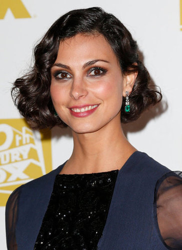 Morena Baccarin smiled in a blue gown at the Fox party in Beverly Hills.