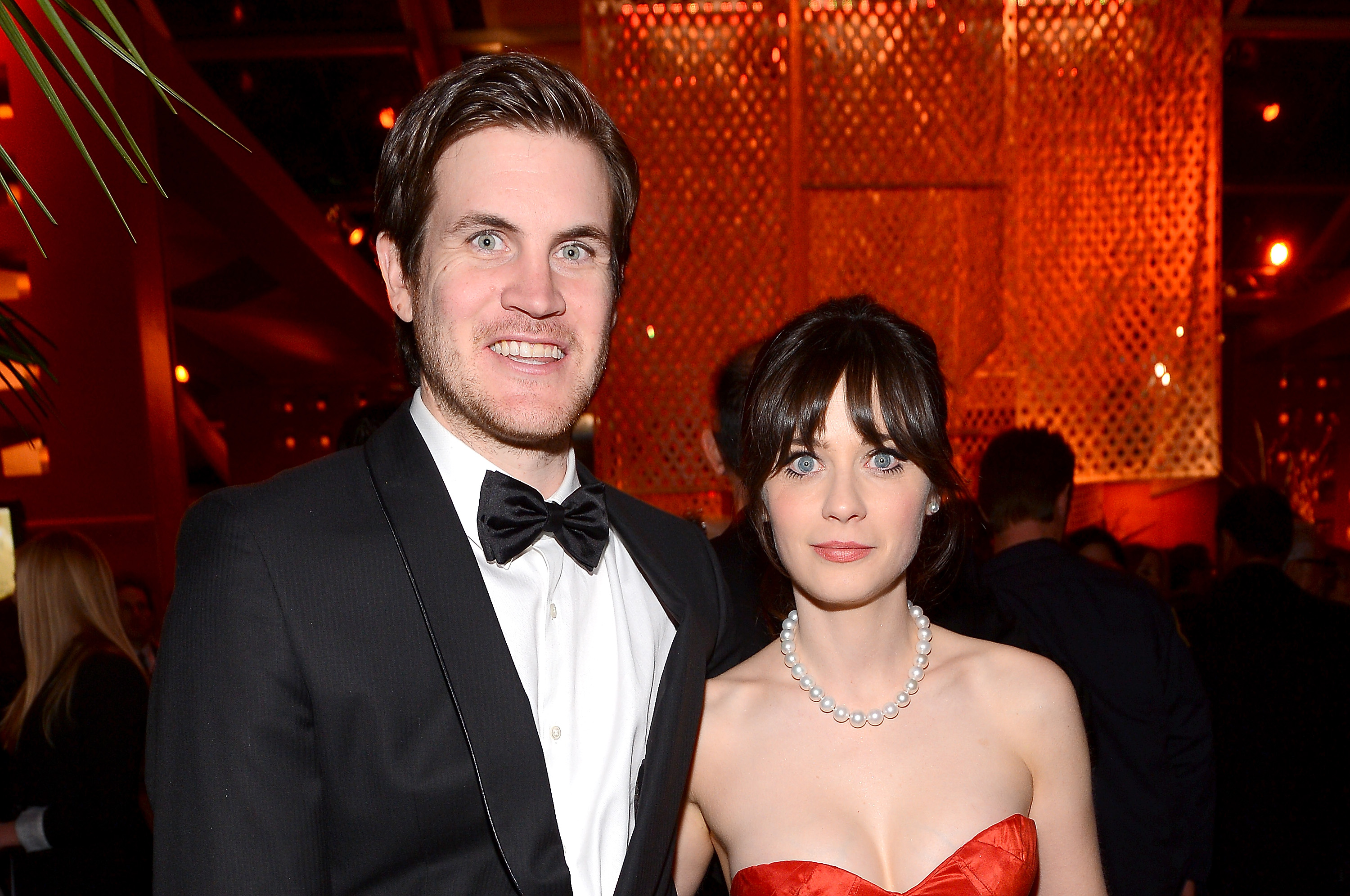 Zooey Deschanel and Jamie Linden attended the Fox Network Golden Globes party.