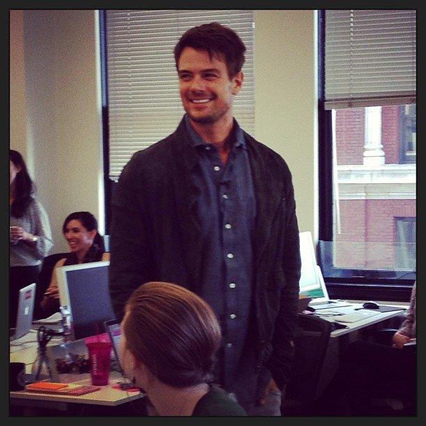 Josh Duhamel stopped by the POPSUGAR offices in San Francisco. Source: Instagram user popsugar