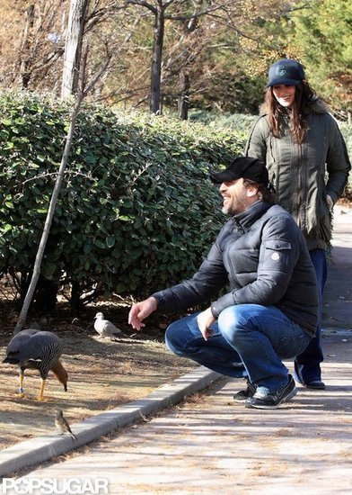 Penélope Cruz and Javier Bardem fed the ducks in Madrid.