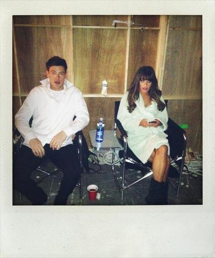 Cory Monteith and Lea Michele enjoyed some downtime together on the set of Glee. Source: Twitter user BFalchuk