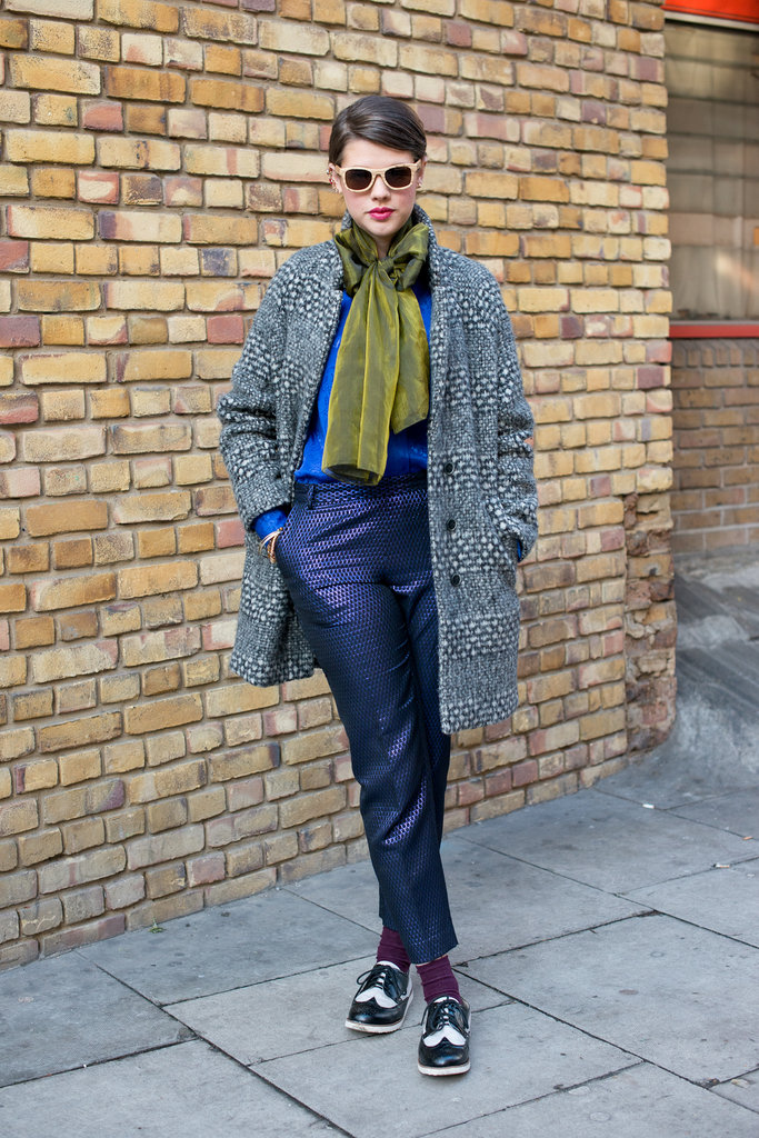 High-wattage prints (even on her coat) made this a layered-up look a success.
