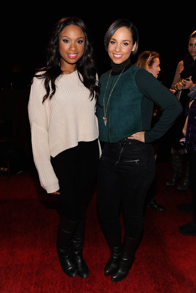 Now this is a dynamic duo: Jennifer Hudson, in a slouchy sweater and black jeans, and Alicia Keys, in a luxe green turtleneck and and shark tooth Anita Ko necklace, posed together at the Village at the Lift.