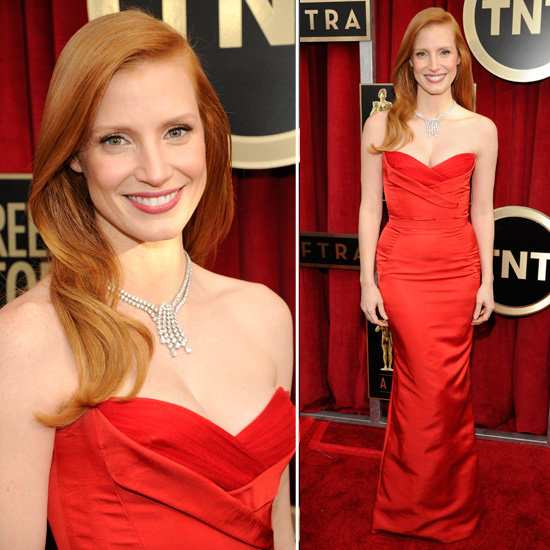 See Jessica Chastain in Alexander McQueen at 2013 SAG Awards