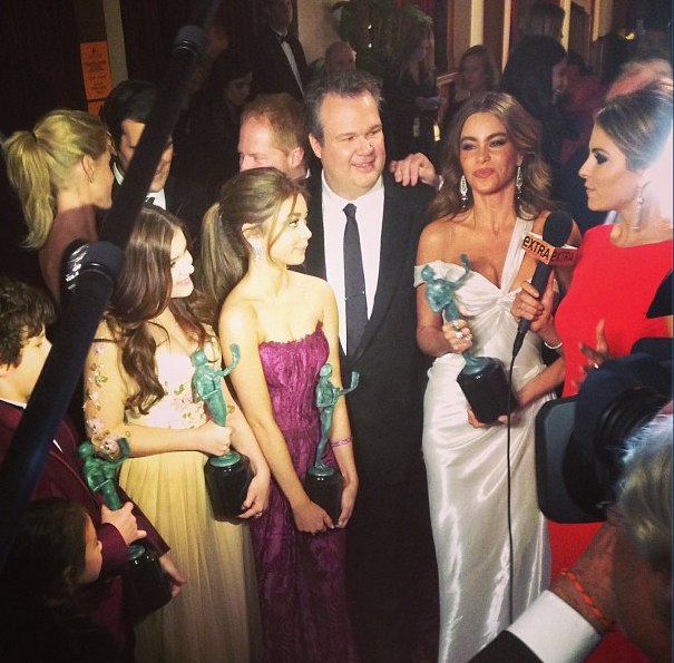 A group view of the Modern Family gowns. Source: Instagram user sagawards