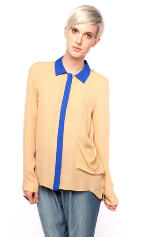 A basic camel button-down is great but this Gar-De colorblock blouse ($180) is so much more interesting to look at. Plus, we can't get enough of camel and cobalt together!