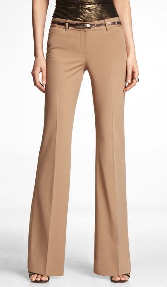 We absolutely adore the wide-leg cut on these Express camel trousers ($70). Tame them with gray pieces or really bring them to life with a bright-red top.