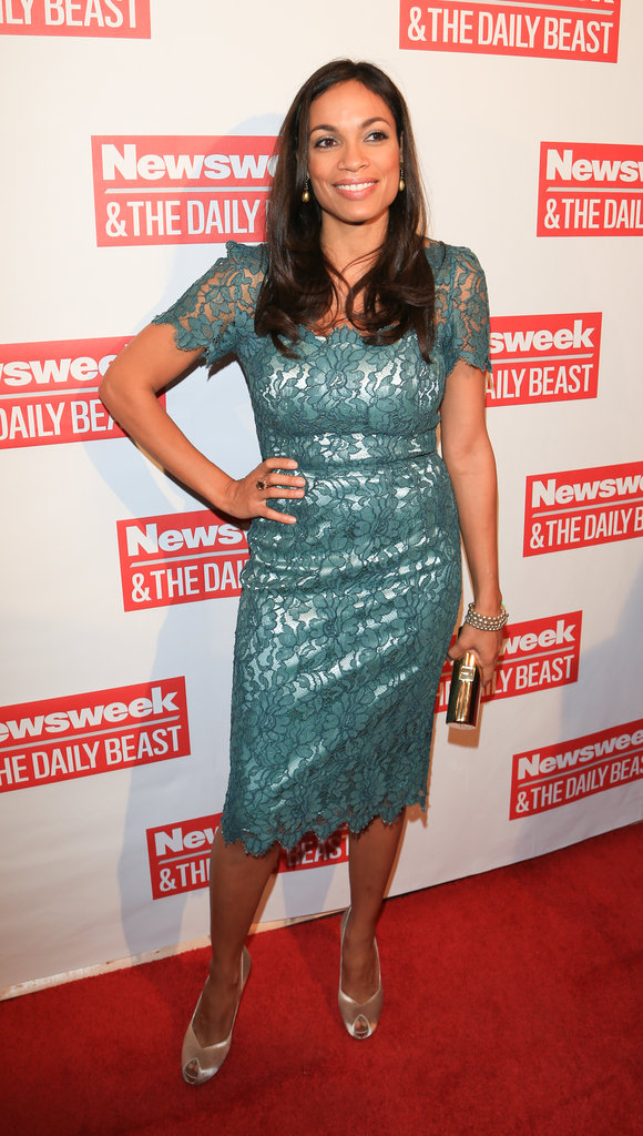 Rosario Dawson wore a seafoam-green teal lace dress paired with metallic accessories to The Daily Beast's bipartisan inauguration brunch.