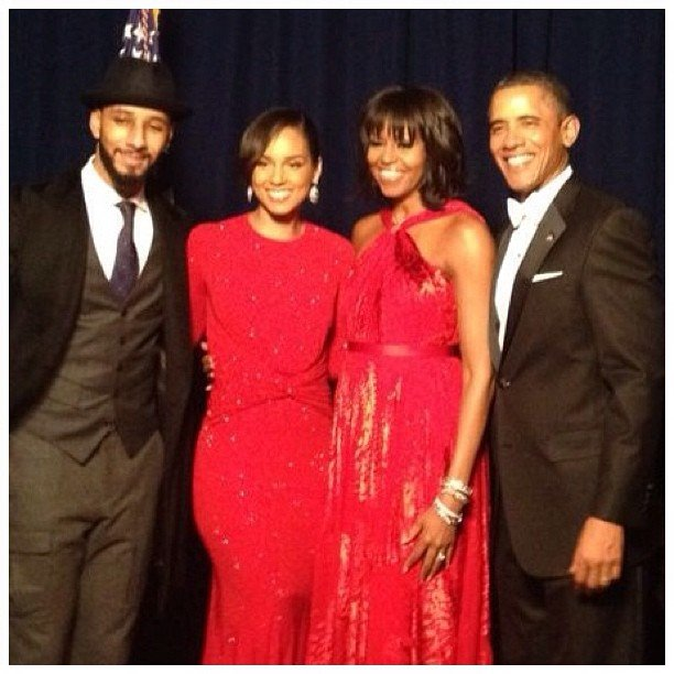 On Monday, Alicia Keys and Swizz Beatz posed for a photo with Michelle and Barack Obama at The Inauguration Ball. Source: Instagram user Alicia Keys