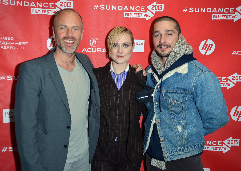Shia LaBeouf and Evan Rachel Wood posed with Fredrik Bond at Sundance.
