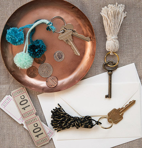 We can never find keychains we like but we've fallen hard for these DIYtassels and mini pom poms! Source: Design*Sponge