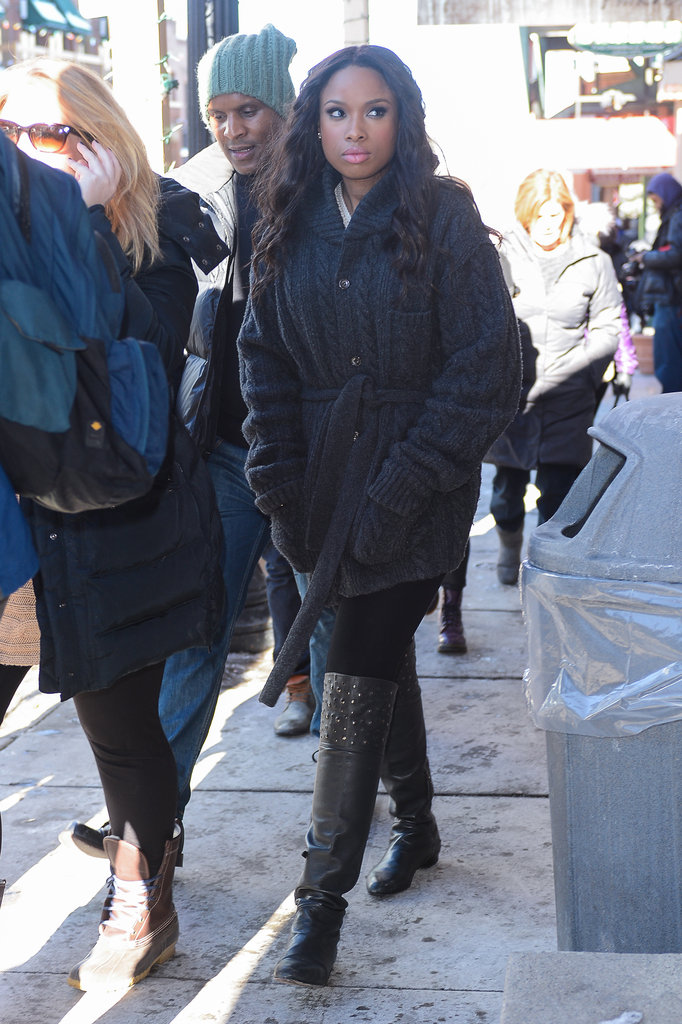 Jennifer Hudson covered up in a belted cardigan and over-the-knee boots at Sundance.