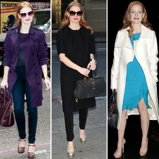 Is it just us, or does Jessica Chastain have the best Winter coat collection?