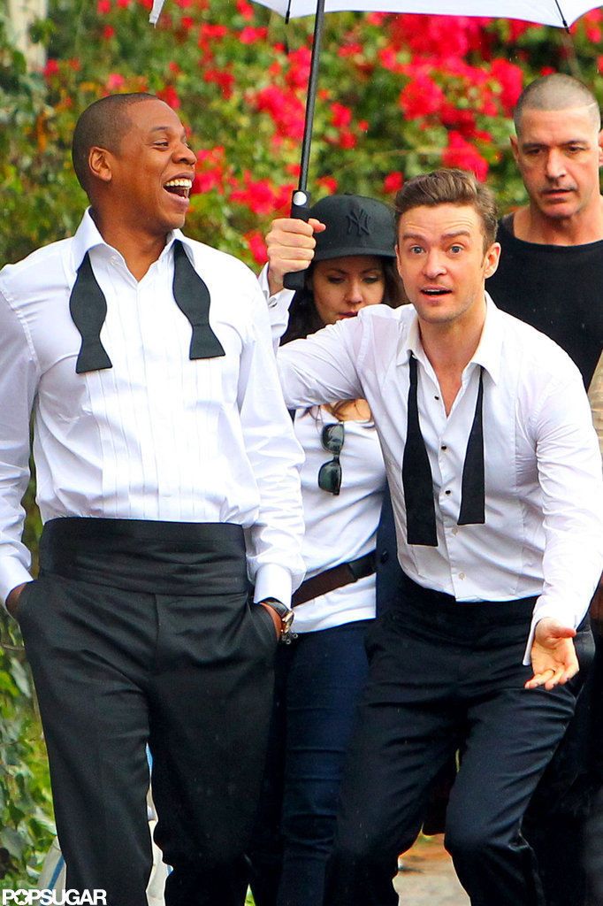"""Justin Timberlake and Jay-Z suited up and goofed around on the LA set of their """"Suit & Tie"""" video."""