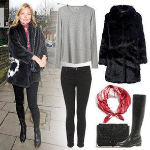 Kate Moss Wearing Black Fur Coat in London