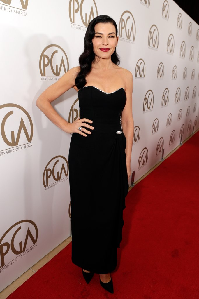 Julianna Margulies channelled an Old Hollywood look in a black strapless corset dress and matching pumps.