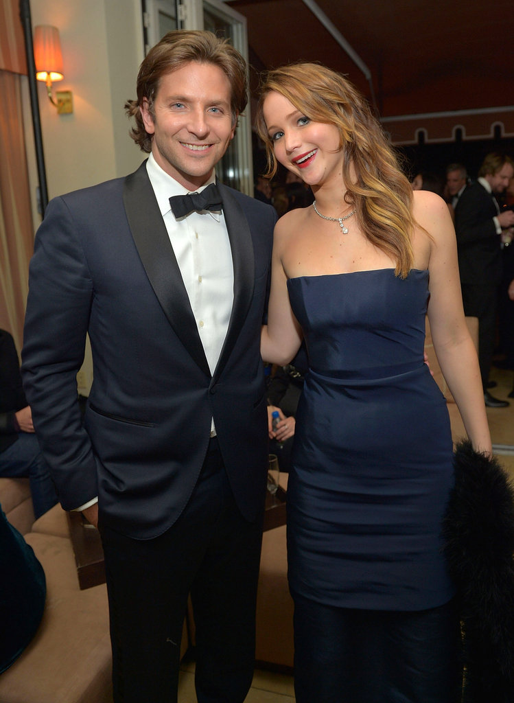 Costars Bradley Cooper and Jennifer Lawrence stopped for a snap.
