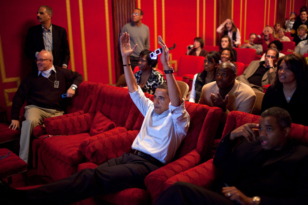 President Barack Obama celebrated a touchdown while watching the 2009 Super Bowl in the White House family theater.