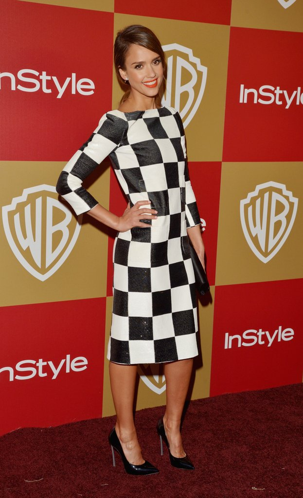 Jessica Alba opted for a black-and-white checkered Louis Vuitton midi dress and black Casadei pumps for InStyle's Golden Globe Awards after-party in LA.