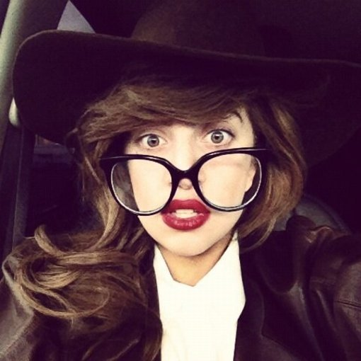 Lady Gaga rocked a pair of giant glasses. Source: Twitter user ladygaga