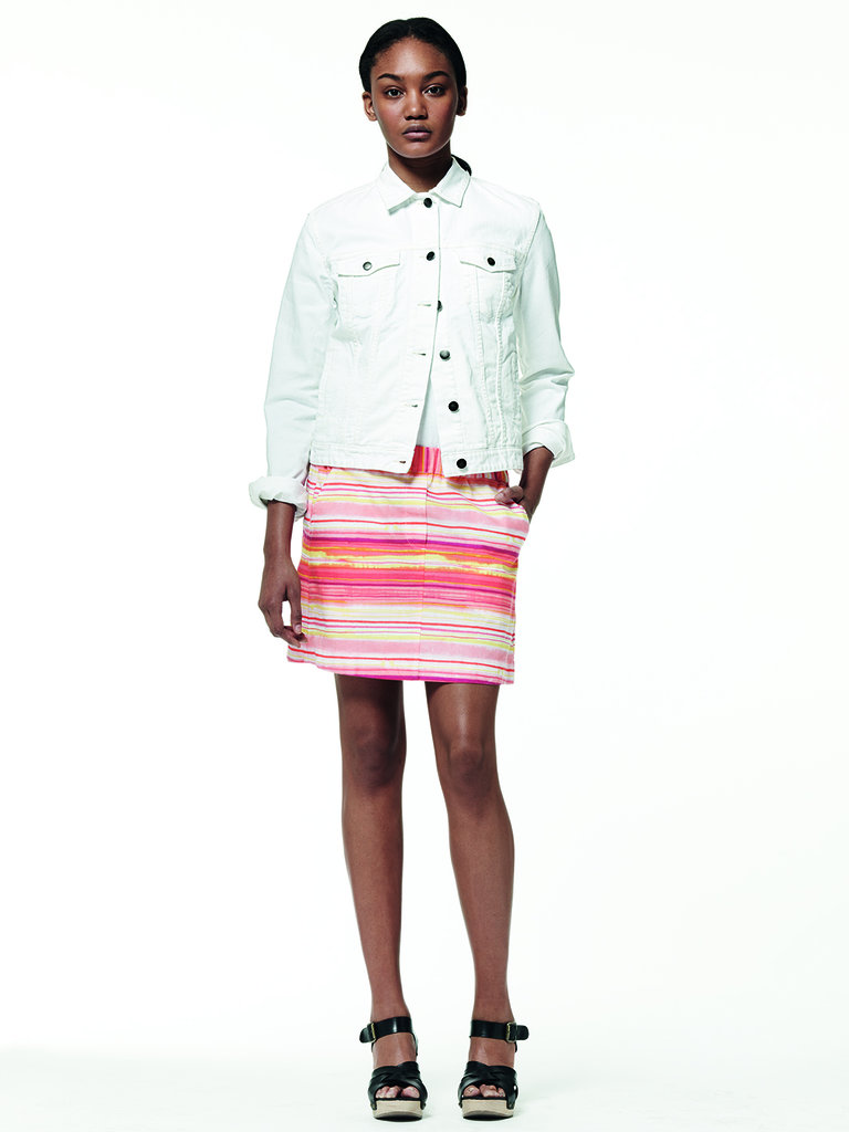 Outfit idea: a crisp white denim jacket with a neon bright striped skirt. If you want to pass on the sandals, try high-top kicks instead.