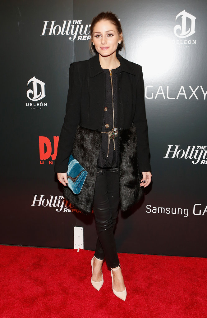 Olivia Palermo's wool-and-fur coat was the perfectly posh ending to her slick red-carpet style at the Django Unchained premiere in NYC.