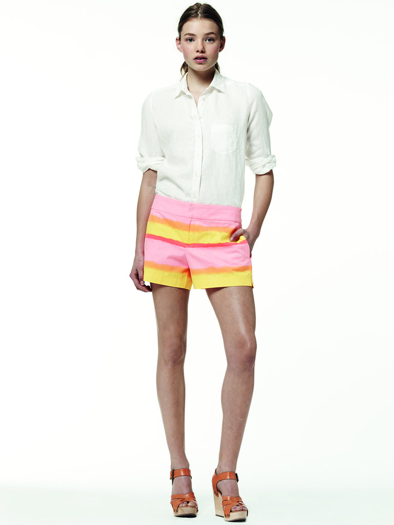 Offset colorful stripes with a classic white oxford shirt.