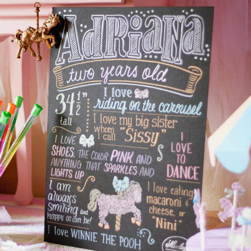Pastel Carousel Party With Cool Chalkboard Sign