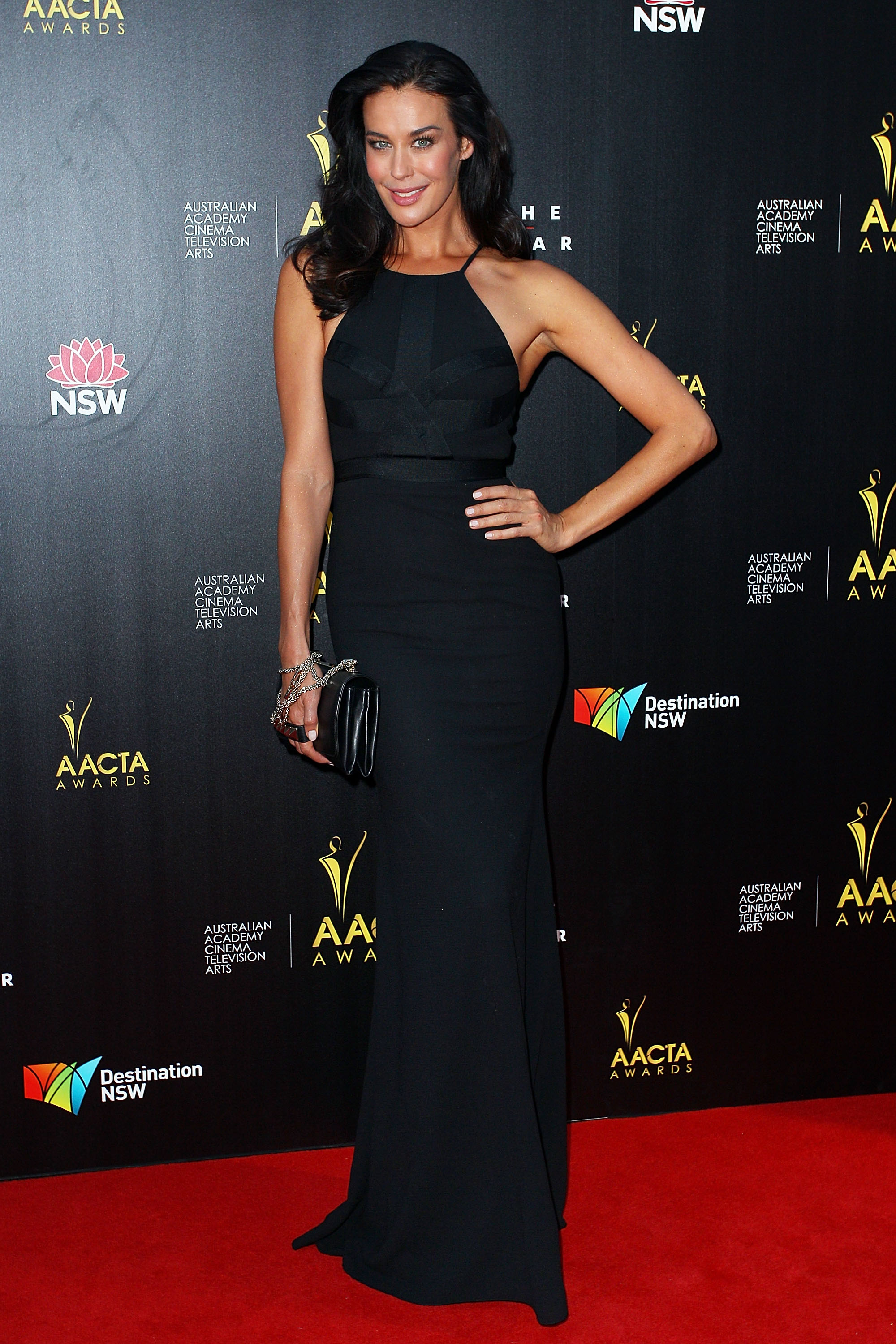 Megan Gale went for a black look at the AACTA Awards.