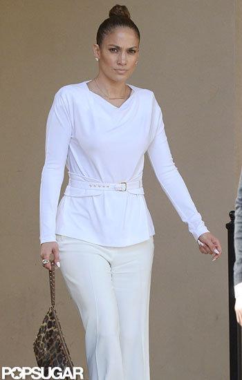 Jennifer Lopez carried a leopard clutch to lunch.