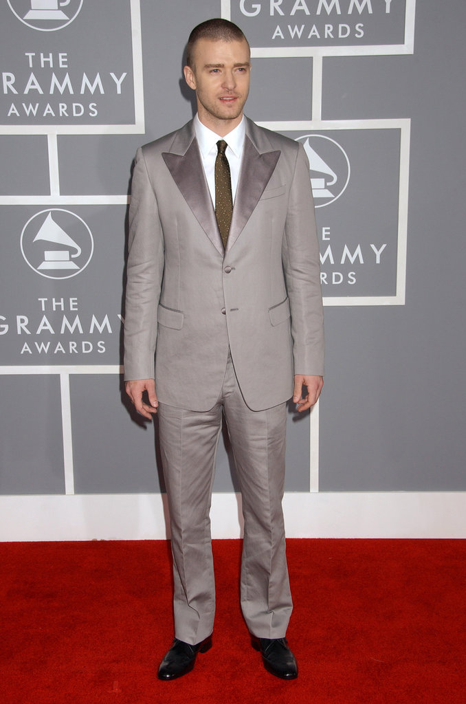 Justin hit the red carpet in a silvery-grey suit and tie at the Grammys in 2007.
