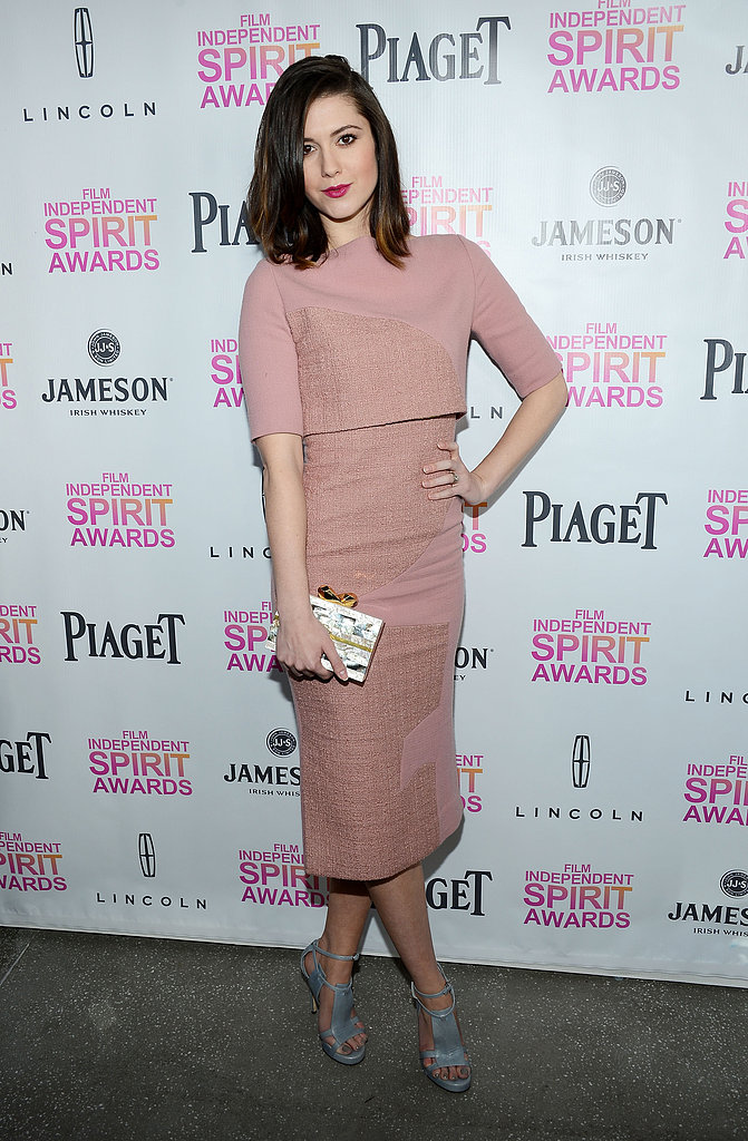 Mary Elizabeth Winstead chose a dusty pink midi dress with grayish blue sandals and a metallic clutch at the 2013 Film Independent Filmmaker Grant and Spirit Awards Nominees Brunch. We're all for incorporating some, or a lot of, dusty pink into your Valentine's Day style.