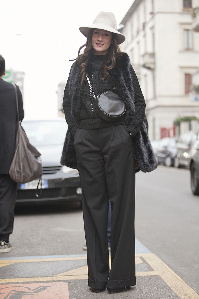 A little Annie Hall, this look married easy elegance and few quirky accessories. Source: Adam Katz Sinding